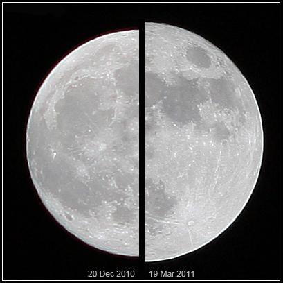 La superluna del 19 de marzo de 2011 comparada con una luna promedio el 20 de diciembre de 2010 (fuente Wikipedia).