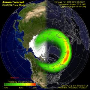 Predicción de visibilidad de Auroras Boreales (00:50 UTC 19/3/2015). NOAA Space Weather.