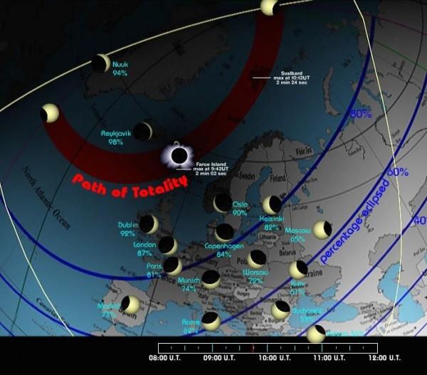 Captura de la animación realizada por Larry Koehn del eclipse solar del 20 marzo 2015 (recomendamos acudir a su web para ver la animacaión)