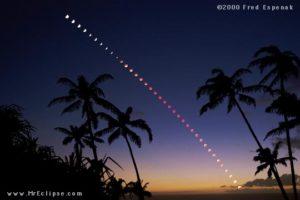 Eclipse en Maui (16 julio 2000). Fotos Fred Espanek.