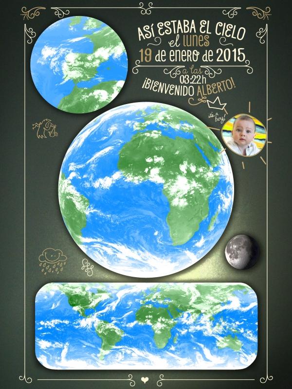 """""""Así estaba el cielo cuando nació …"""". Diseño """"pizarra"""" de SkyOnline. Versión completa (desde julio 2012 hasta hoy)."""