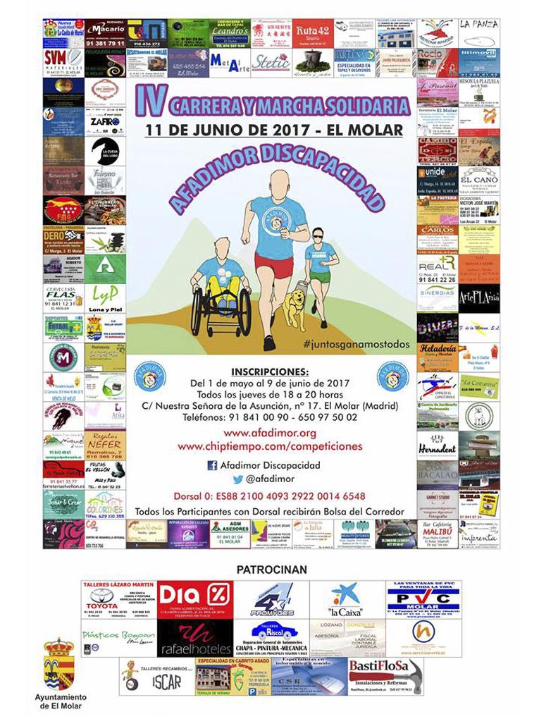 Cartel de la IV Carrera Solidaria de Afadimor (más de 100 esponsor o patrocinadores, todo El Molar volcado).